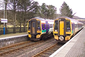 Kyle of Lochalsh line - ScotRail Class 158s at Strathcarron