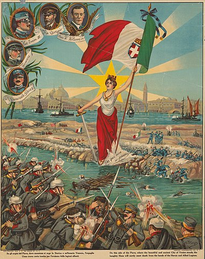 Italian propaganda poster depicts the Battle of the Piave River Su-gli-argini-del-piave.jpg