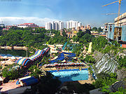 Aerial view of Sunway Lagoon, a popular waterpark in Malaysia.