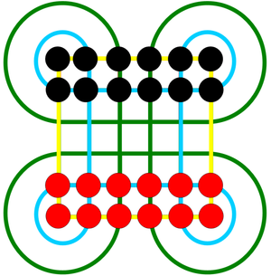 Surakarta (game) - Surakarta gameboard and starting setup