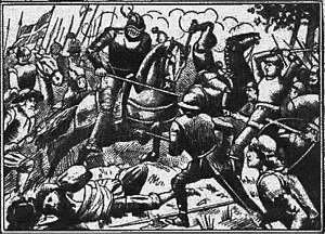 Dano-Swedish War (1501–12) - Image: Svante Nilsson Regent of Sweden battle scene 1889 by Louise Elisabet Granberg Stjernström (b&w)
