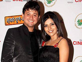 Mukta Barve - Barve with costar Swwapnil Joshi at premiere of Marathi film Mumbai-Pune-Mumbai