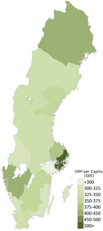 Gross Regional Product (GRP) per capita in thousands of kronor (2014) Sweden GRP per Capita (2014).png