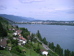 The shores of northeastern Lake Biel in 2004