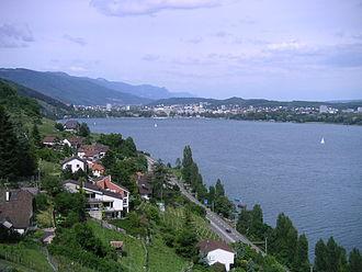 Lake Biel - The lake at Alfermée with the view of Biel/Bienne and Nidau