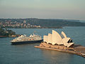 Sydney Opera House and luxury cruise ship 2005.jpg