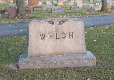 The Welch Family marker at the Gate of Heaven Cemetery in Lewiston, NY T v welch grave lewiston.jpg