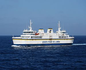 Gozo - MV Ta' Pinu, one of the three ferries operated by the Gozo Channel Line, on its way from Gozo to Ċirkewwa.