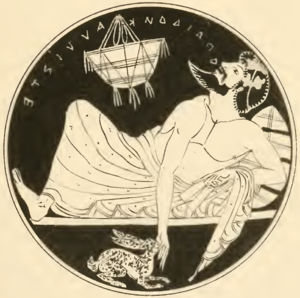 Theognis of Megara - A kylix from Tanagra, Boeotia, 5th century B.C. A symposiast sings Ω παίδον κάλλιστε, the beginning of a verse by Theognis