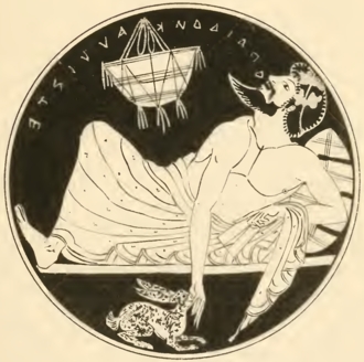 Theognis of Megara - A kylix from Tanagra, Boeotia, 5th century B.C. A symposiast sings ὦ παίδων κάλλιστε, the beginning of a verse by Theognis