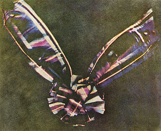 RGB color model - The first permanent color photograph, taken by J.C. Maxwell in 1861 using three filters, specifically red, green, and violet-blue.