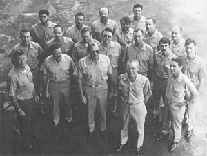 Operation End Sweep - The Commander of Task Force 78 (Mine Countermeasures Force), U.S. Seventh Fleet, Rear Admiral Brian McCauley (front row, center), with his staff and other members of the task force.