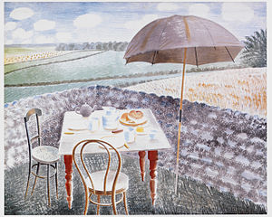 Peggy Angus - Tea at Furlongs 1939, by Eric Ravilious