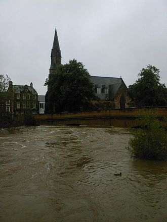 Morpeth, Northumberland - St George's Church and Telford Bridge during the September 2008 floods