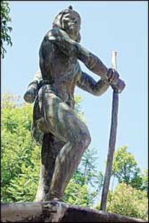 Mixtón War - Francisco Tenamaztle, Indian leader in the Mixton War, statue on the main square of Nochistlan de Mejia, Zacatecas
