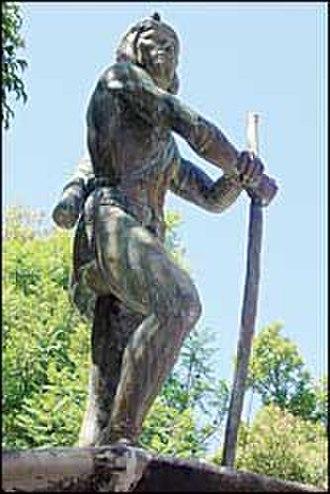 Mixtón War - Francisco Tenamaztle, Indian leader in the Mixton War, statue on the main square of Nochistlan de Mejia, Zacatecas