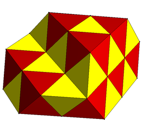 Convex uniform honeycomb - The alternated cubic honeycomb is one of 28 space-filling uniform tessellations in Euclidean 3-space, composed of alternating yellow tetrahedra and red octahedra.