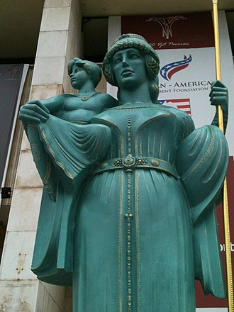Teuta - Statue of Queen Teuta and her stepson Pinnes in Tirana, Albania