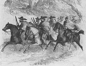 Texas Ranger Division - An early depiction of a group of Texas Rangers, c. 1845