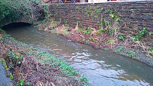Penrith, Cumbria - Thacka Beck emerging from its culvert behind the Tourist information centre