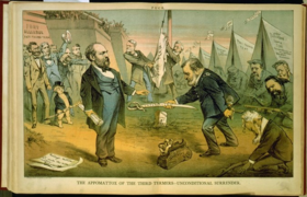 Cartoon showing Ulysses S. Grant handing a sword to James Garfield, who is holding a rolled-up paper.