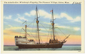Arbella - Postcard showing the ship in Salem.