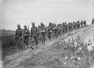 Sherwood Foresters - Bomb carrying party of the 1st Battalion, Sherwood Foresters going up to the front line at La Boisselle, France, 6 July 1916.