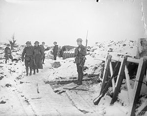 113th Brigade (United Kingdom) - Men of the 15th (Service) Battalion (1st London Welsh), Royal Welsh Fusiliers in the snow-covered front line trenches at Fleurbaix, 28 December 1917.