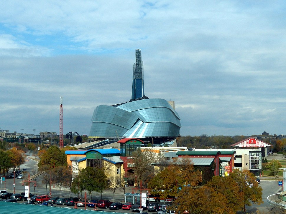 The Canadian Museum for Human Rights as seen from The Forks Tower 02