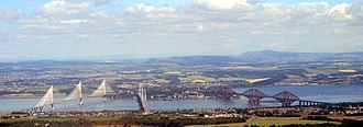 Firth of Forth - From left to right The Queensferry Crossing, the Forth Road Bridge and the Forth Bridge from the South Queensferry side.