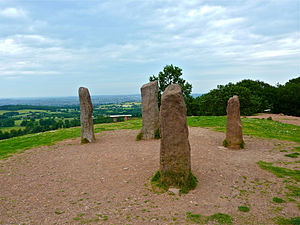 Clent Hills - The four stones at the top of Clent Hill at 52° 25′ 15.29″ N, 2° 5′ 56.12″ W
