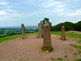 "Clent - The four stones or ""Ossian's Tomb"" on the top of the Clent Hills were follies erected by George Lyttelton, 1st Baron Lyttelton"