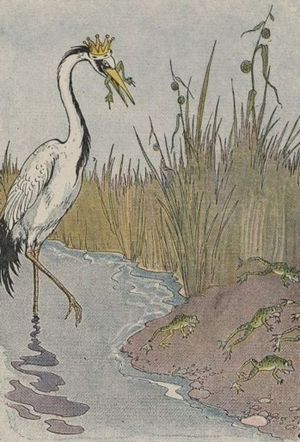 The Frogs Who Desired a King - The Frogs Who Desired a King, illustrated by Milo Winter in a 1919 Aesop anthology