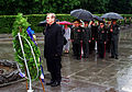 The Honorable Donald H. Rumsfeld, U.S. Secretary of Defense, stands at attention after placing a wreath at the War Memorial in Kiev, Ukraine, on Jun. 5, 2001 010605-D-WQ296-195.jpg
