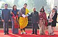 The King of Bhutan, His Majesty Jigme Khesar Namgyel Wangchuck being received by the President, Shri Pranab Mukherjee, at the Ceremonial Reception, at Rashtrapati Bhavan, in New Delhi. The Bhutan Queen.jpg