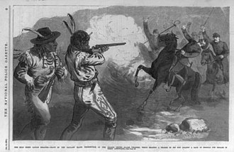 Meeker Massacre - Milk Creek Canyon disaster - death of the gallant Major Thornburgh, of the Fourth United States Infantry, while heading a charge of his men against a band of hostile Ute Indians in their ambuscade.