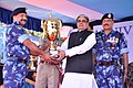 The Minister of State for Home Affairs, Shri Haribhai Parthibhai Chaudhary presenting the award to the CRPF officer, at the 23rd Rapid Action Force day, at 99BN RAF campus, Hakimpet, in Hyderabad on October 07, 2015.jpg