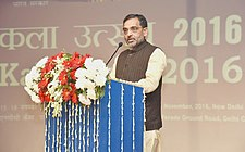 The Minister of State for Human Resource Development, Shri Upendra Kushwaha addressing at the inauguration of the Kala Utsav-2016, in New Delhi on November 15, 2016.jpg