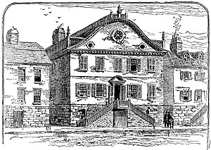 FleetBoston Financial - Providence Bank around the time of its founding in 1791. The building still stands on South Main Street.
