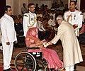 The President, Shri Pranab Mukherjee presenting the Padma Vibhushan Award to Shri Sundar Lal Patwa (Posthumous), at the Civil Investiture Ceremony, at Rashtrapati Bhavan, in New Delhi on April 13, 2017.jpg