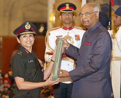 The President, Shri Ram Nath Kovind presenting the Ati Vishisht Seva Medal to Major General Madhuri Kanitkar, at the Defence Investiture Ceremony–I, at Rashtrapati Bhavan, in New Delhi on March 27, 2018