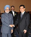 The Prime Minister, Dr. Manmohan Singh meeting with the President of the People's Republic of China, Mr. Hu Jintao during the G-8 Summit at Sapporo, in Japan on July 08, 2008.jpg