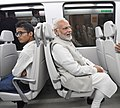 The Prime Minister, Shri Narendra Modi traveling in Airport Express Metro Line to reach the venue of the foundation stone laying ceremony of India International Convention and Expo Centre, at Dwarka, New Delhi.JPG