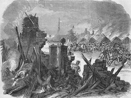 """The Sepoy revolt at Meerut,"" from the Illustrated London News, 1857 The Sepoy revolt at Meerut.jpg"