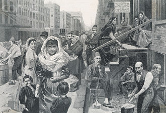 "Syrian Americans - ""The Foreign element in New York, the Syrian colony, Washington Street."" Drawn by W. Bengough"