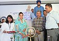 The Union Minister for Food Processing Industries, Smt. Harsimrat Kaur Badal lighting the lamp at the launch of the 'Pradhan Mantri Jan Dhan Yojana (PMJDY)', in Bhatinda, Punjab on August 28, 2014.jpg