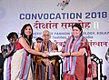 The Union Minister for Textiles, Smt. Smriti Irani giving away degrees to the students, at the Convocation Ceremony of NIFT, 2018, in Kolkata on May 31, 2018.JPG