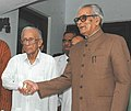 The Vice President, Shri Bhairon Singh Shekhawat meeting with the former Chief Minister of West Bengal, Shri Jyoti Basu, during his visit at Kolkata on May 31, 2007.jpg