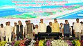The Vice President, Shri M. Venkaiah Naidu at an event to lay foundation stone for the improvement of National Highways and National Water Ways, in Vijayawada, Andhra Pradesh.jpg