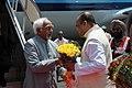 The Vice President, Shri Mohd. Hamid Ansari being received by the Governor of Maharashtra, Shri K. Sankaranarayanan, on his arrival, at Mumbai Airport, Maharashtra on March 30, 2010.jpg